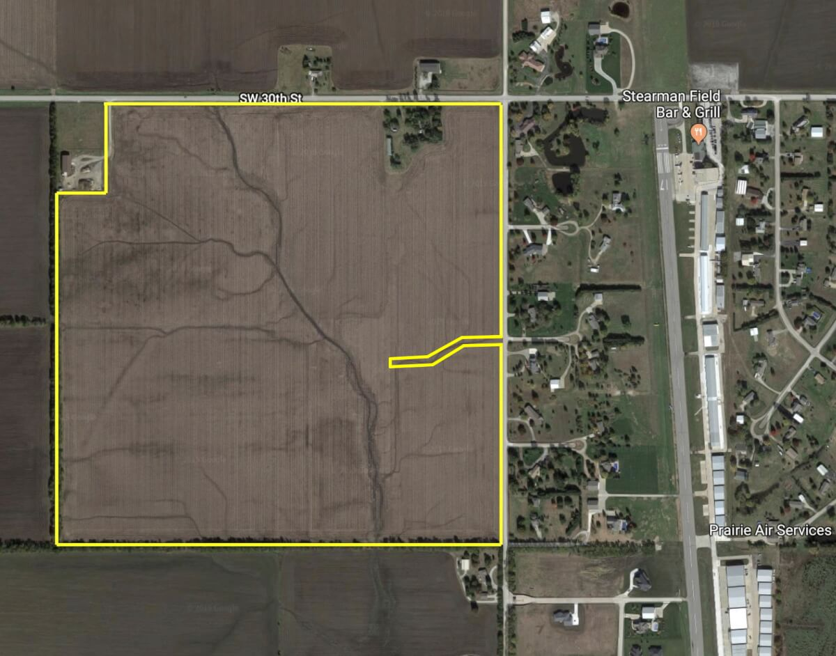 153.4 Acres Butler County Land Adjacent to Stearman Airfield – Benton Kansas