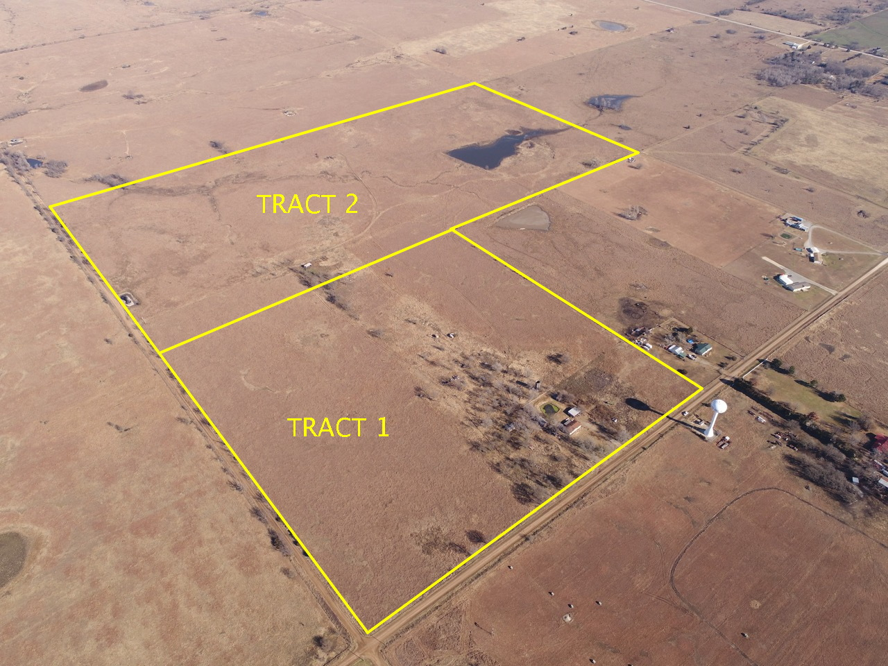 Sundgren Land Auction!  2 Tracts; 40 Acres and 80 Acres w/ Pasture, Oil, Pond, & Rural Water