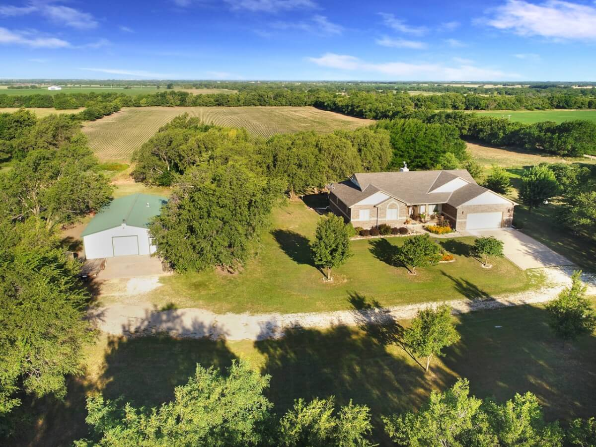 4 Bedroom 3 1/2 Bath Ranch Style Home, 80+- Acres For Sale Butler County KS