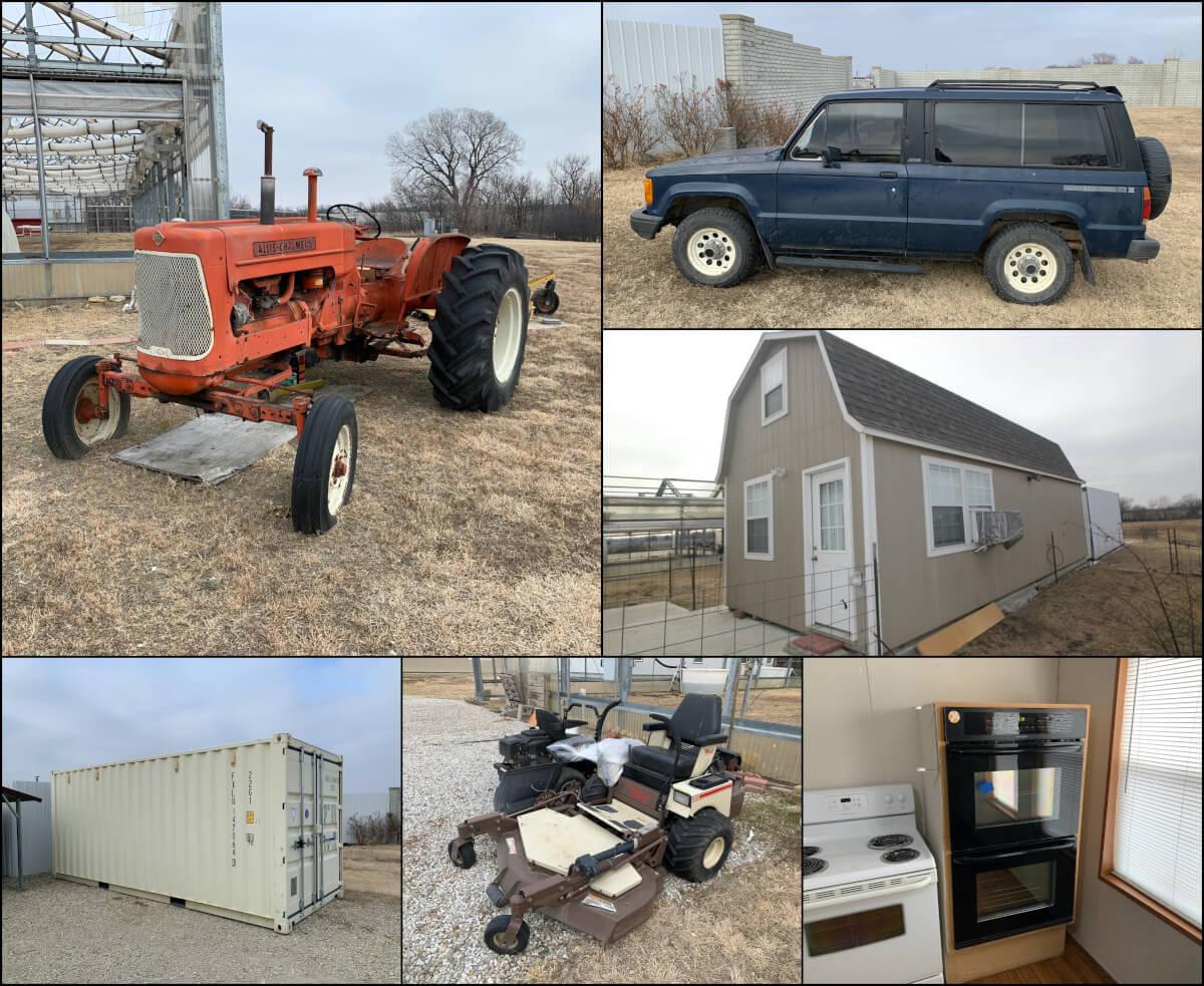 Tractor, Isuzu Trooper, Mowers, Storage Containers & Equipment Auction
