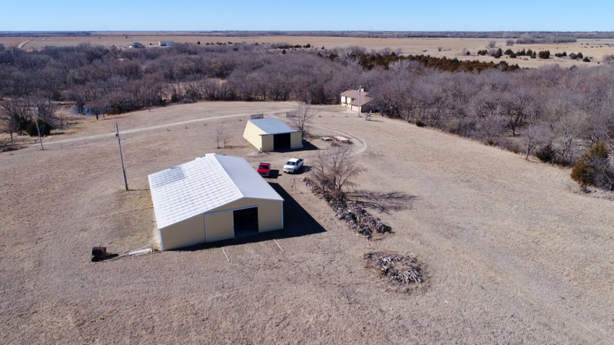 Rural Residence on 30+- Acres, Buildings, Creek, & Timber Near Douglass Ks