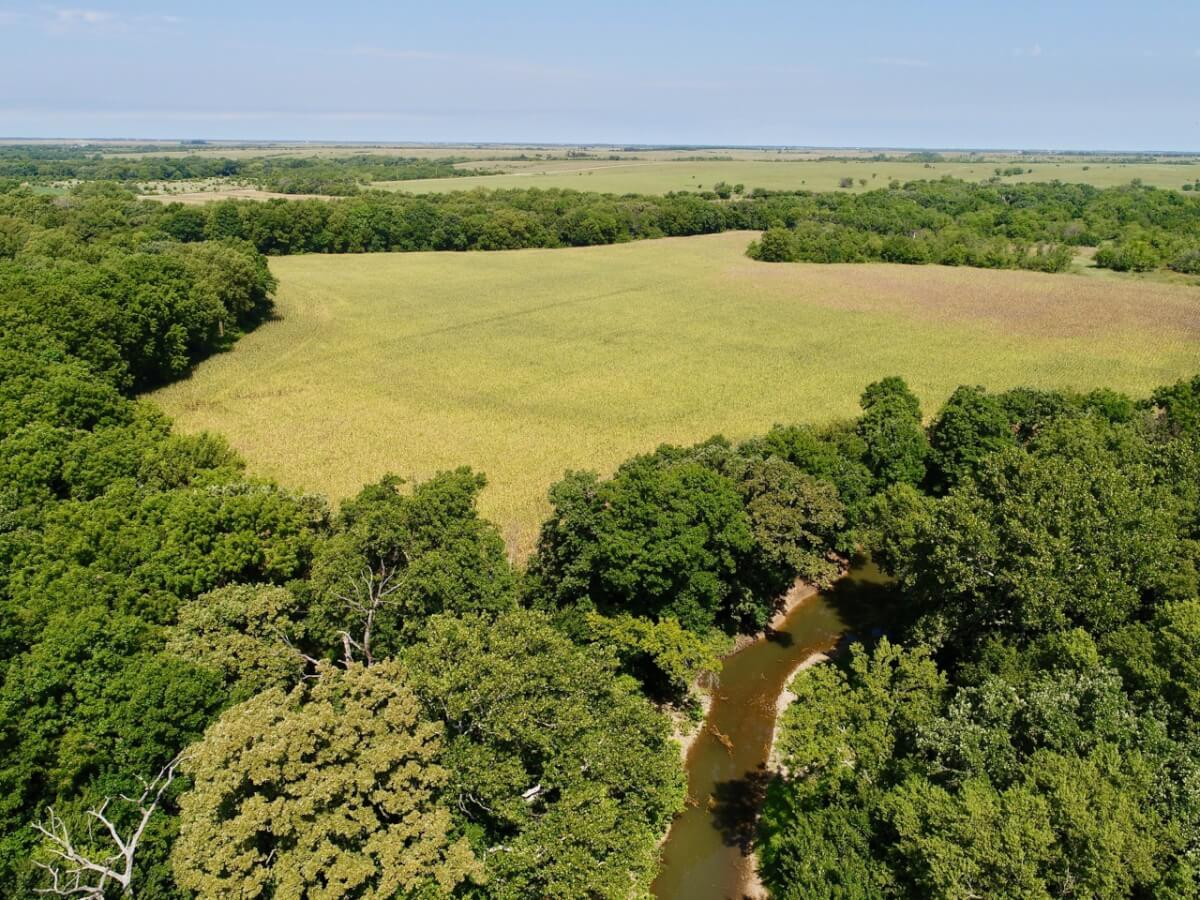 234+- Acres Butler County KS Land, Cabin, Hickory Creek, Tillable, Pasture, & Timber