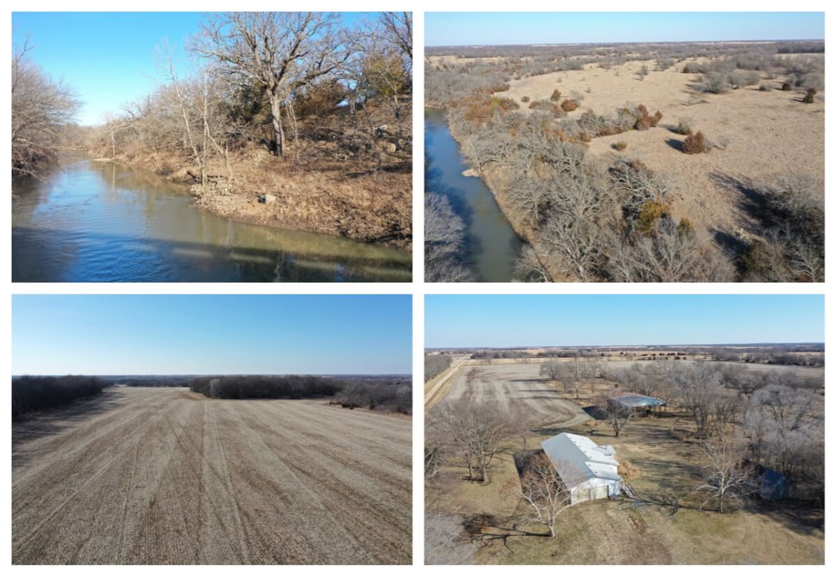 272+- Acres – 3 Tracts; Butler County Kansas Land Auction For Sale El Dorado Augusta River Timber Tillable Pasture