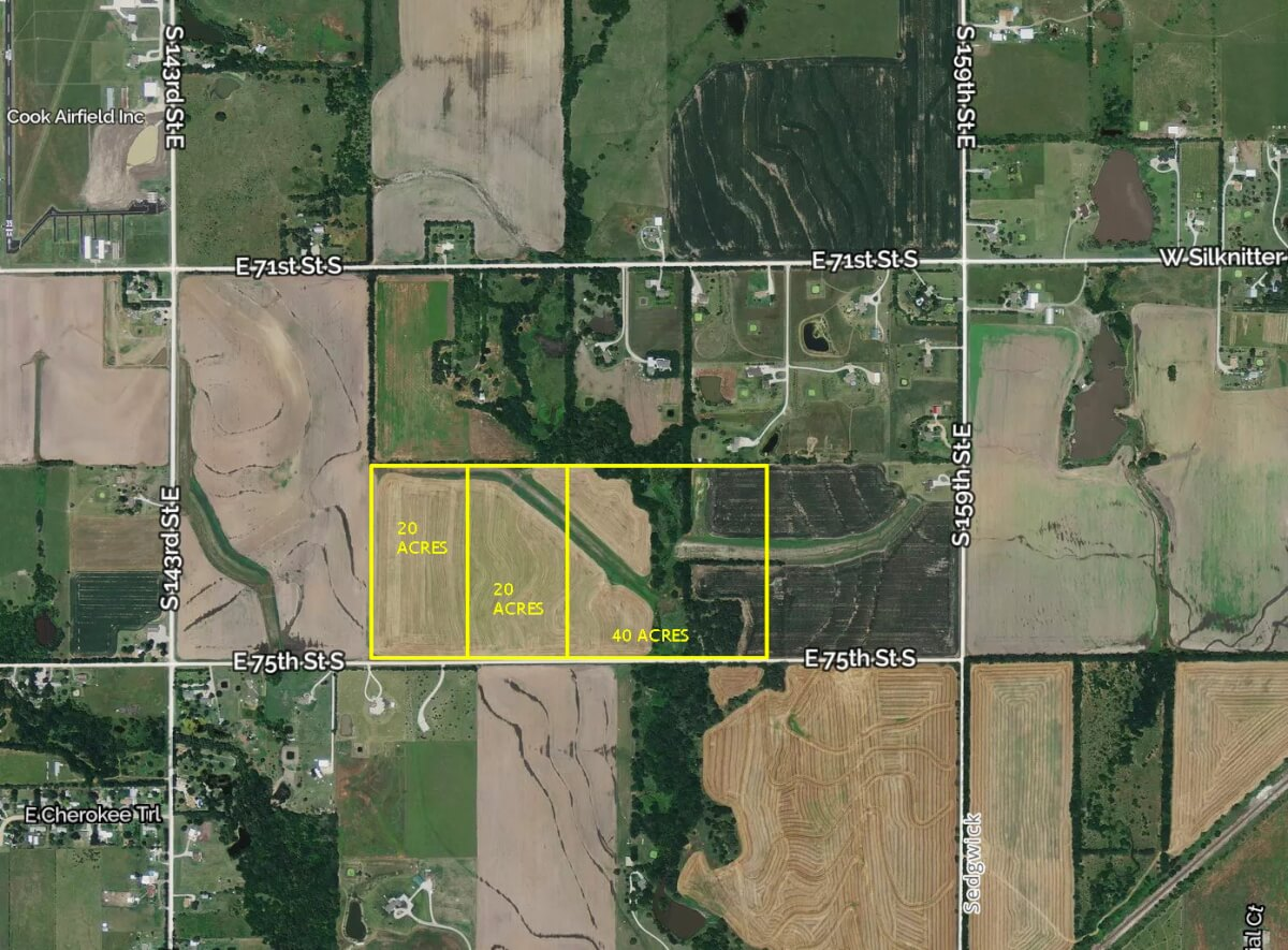 80+- Acres Sedgwick County Kansas Land For Sale; 3 Tracts Near Rose Hill