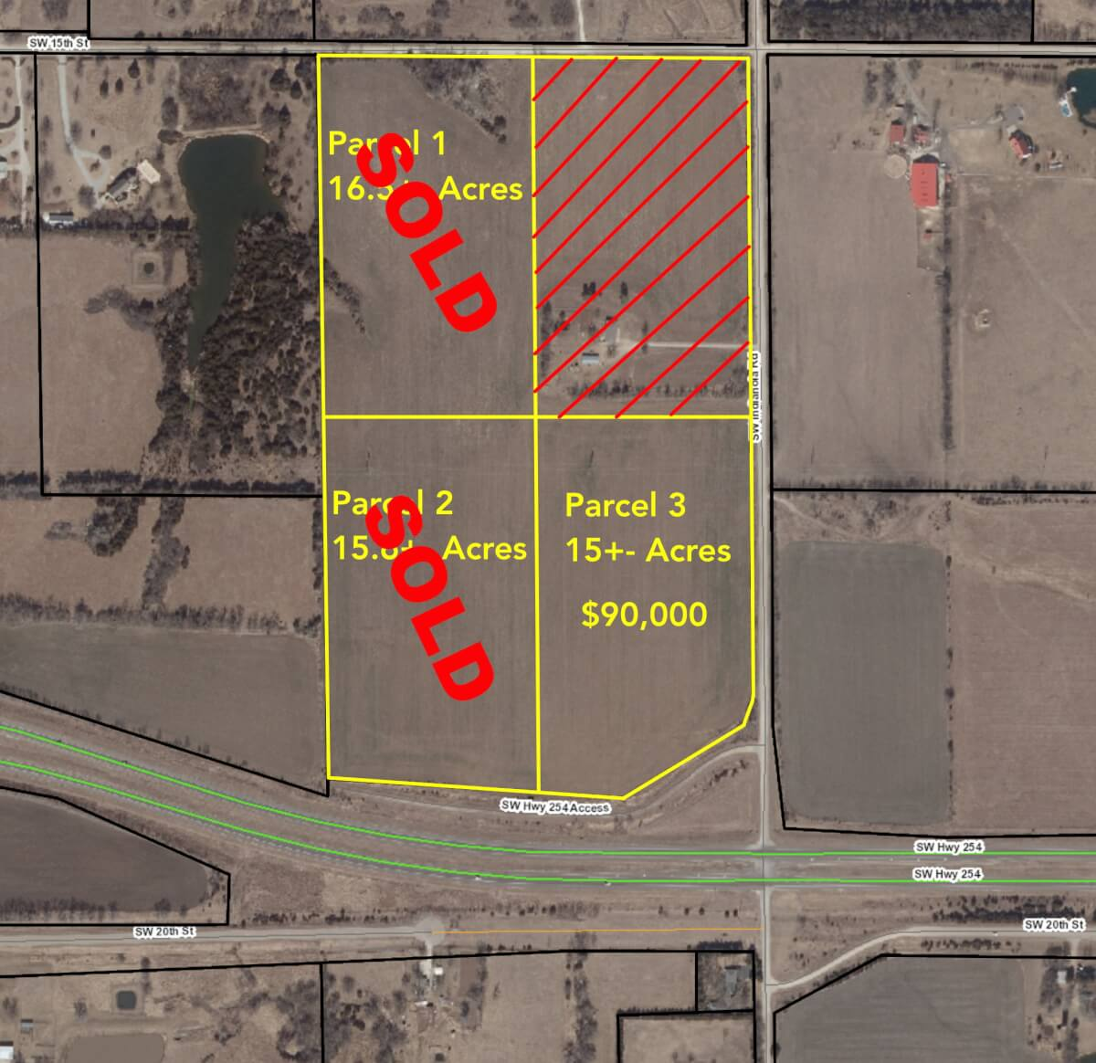(3) 15+- Acre Tracts For Sale Near Benton on HWY 254