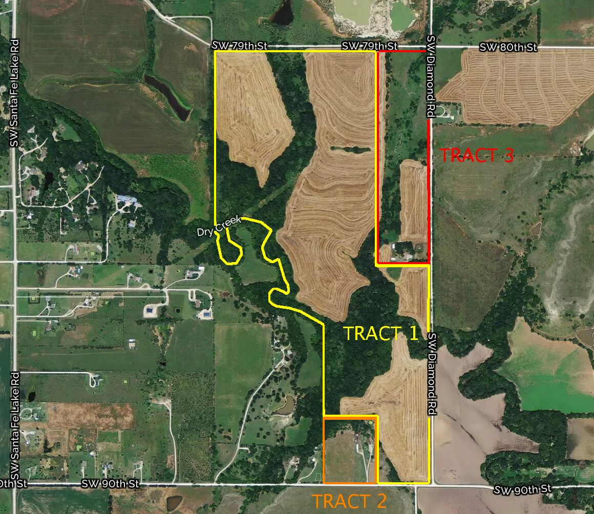 236.3 Acres, 2 Homes, Creek, Tillable, Timber & Hunting Property Augusta Ks