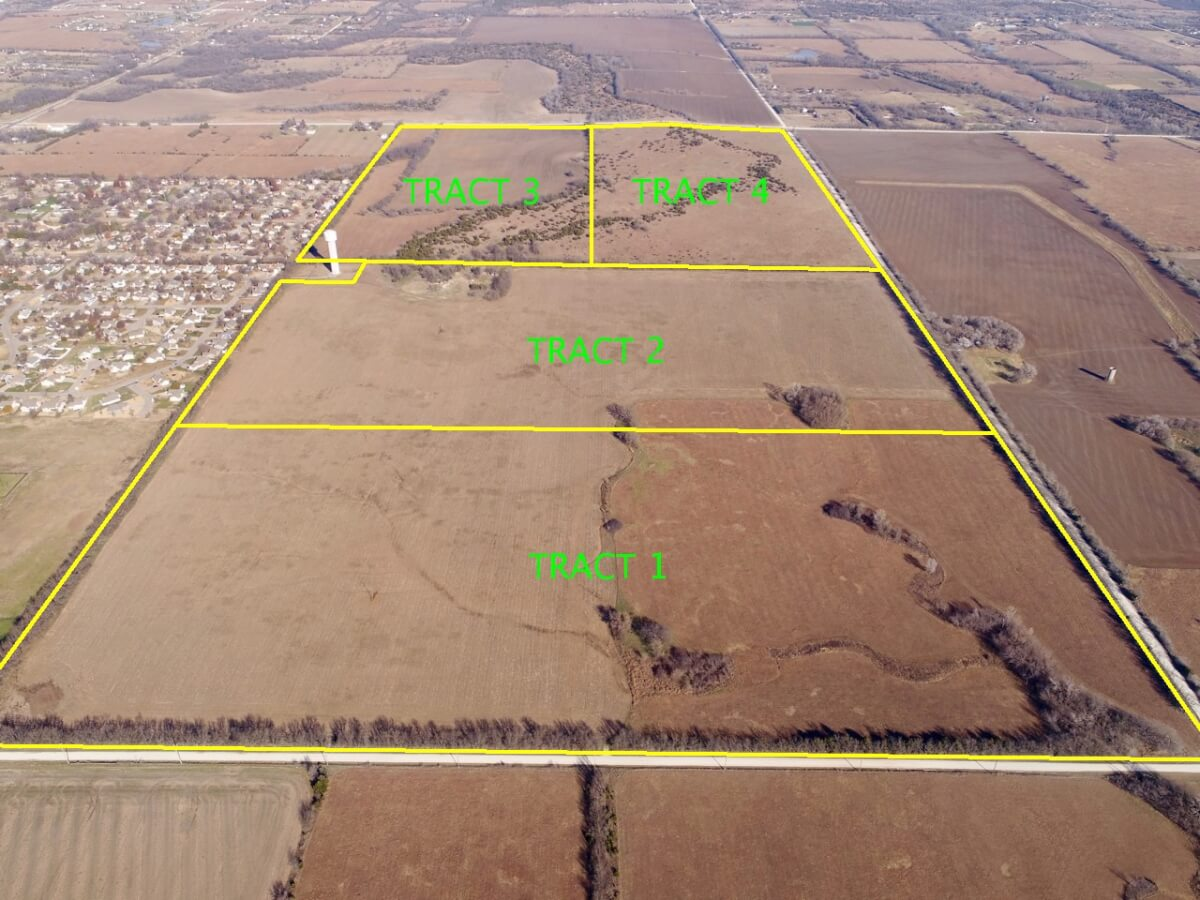 320+- Acres, 4 Individual Tracts, Augusta Kansas Investment Land For Sale