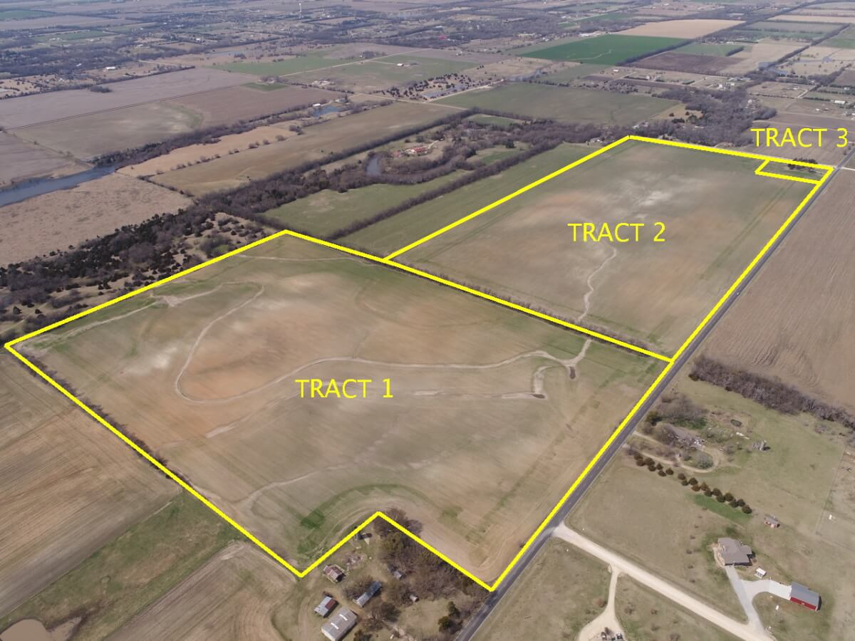 138+- Acres Sedgwick County Kansas-3 Tracts Tillable Land & Brick House