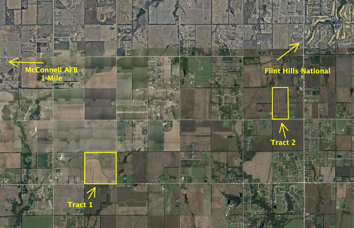 Absolute Land Auction – 240+- Acres Butler & Sedgwick County, Kansas – 2 Tracts