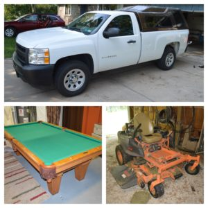 2011 Chevy 1500, Volvo, Guns, 8′ Brunswick Pool Table, Tool, Equipment Auction